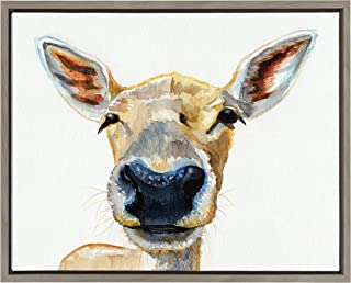 Kate and Laurel - Sylvie Curious Baby Deer Animal Portrait Framed Canvas Wall Art by Jennifer Redstreake Geary, Gray 18 x 24