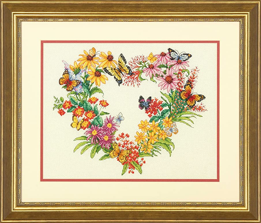 Dimensions 'Wildflower Wreath' Counted Cross Stitch Kit for Beginners, 14 Count Ivory Aida Cloth, 11'' x 14''