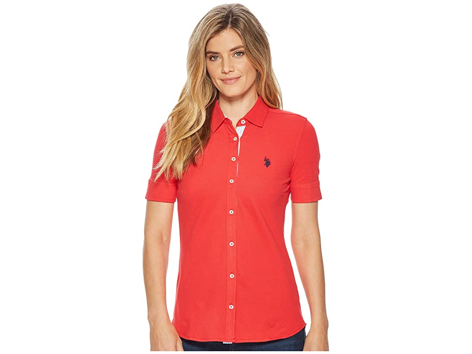 U.S. POLO ASSN. Solid Button Front Short Sleeve Shirt (Lollipop) Women's Clothing