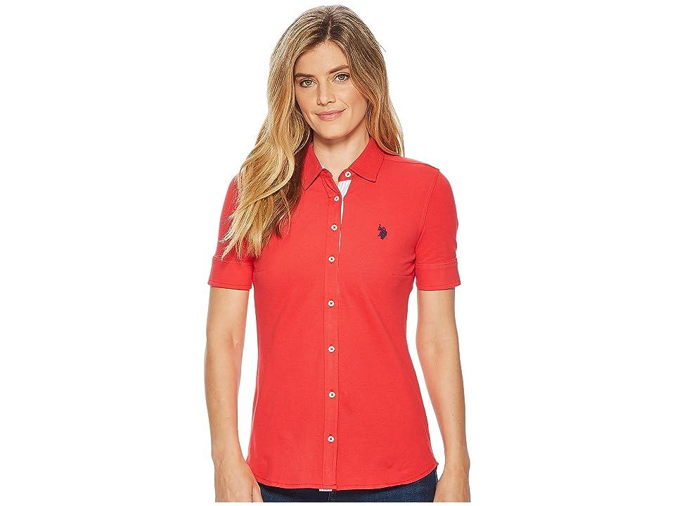 U.S. POLO ASSN. Solid Button Front Short Sleeve Shirt (Lollipop) Women's Clothing
