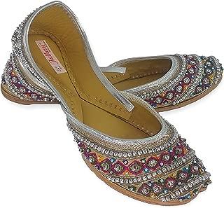 Fulkari Genuine Leather Comfortable Handwork Embroidered Beads Multicolor Flat Jutti Ethnic Shoe