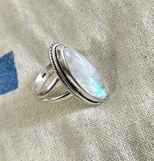 Rainbow Moonstone Ring, 925 Silver Ring, Marquise Shape Ring, Blue Fire Moonstone, Statement Ring, Healing Crystal, Promise Ring, Artisan Ring, Special Day Ring, Boho & Hippie Ring, Mermaid Gift