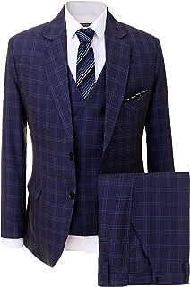 Solovedress Men's Formal Three-Piece Suits Two Button Groomsmen Tuxedo Business Blazer