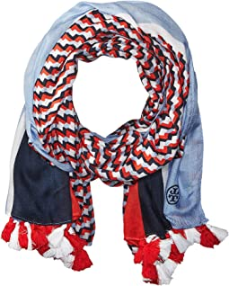 Tory Burch - Windsurf Color Block Logo Oblong Scarf