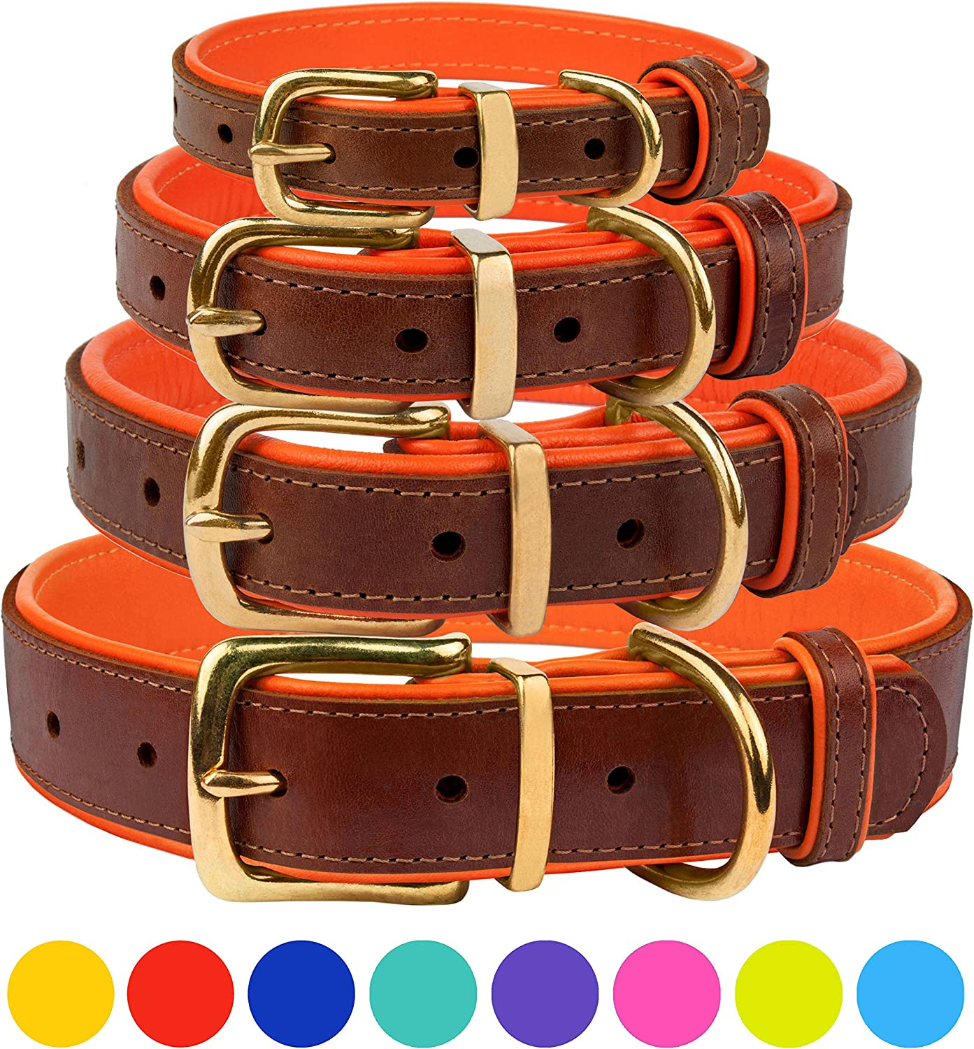 CollarDirect Leather Dog Collar Brass Buckle Soft Padded Puppy Small Medium Large Red Pink bluee Green Purple Yellow (Neck Fit 12 14 , orange)