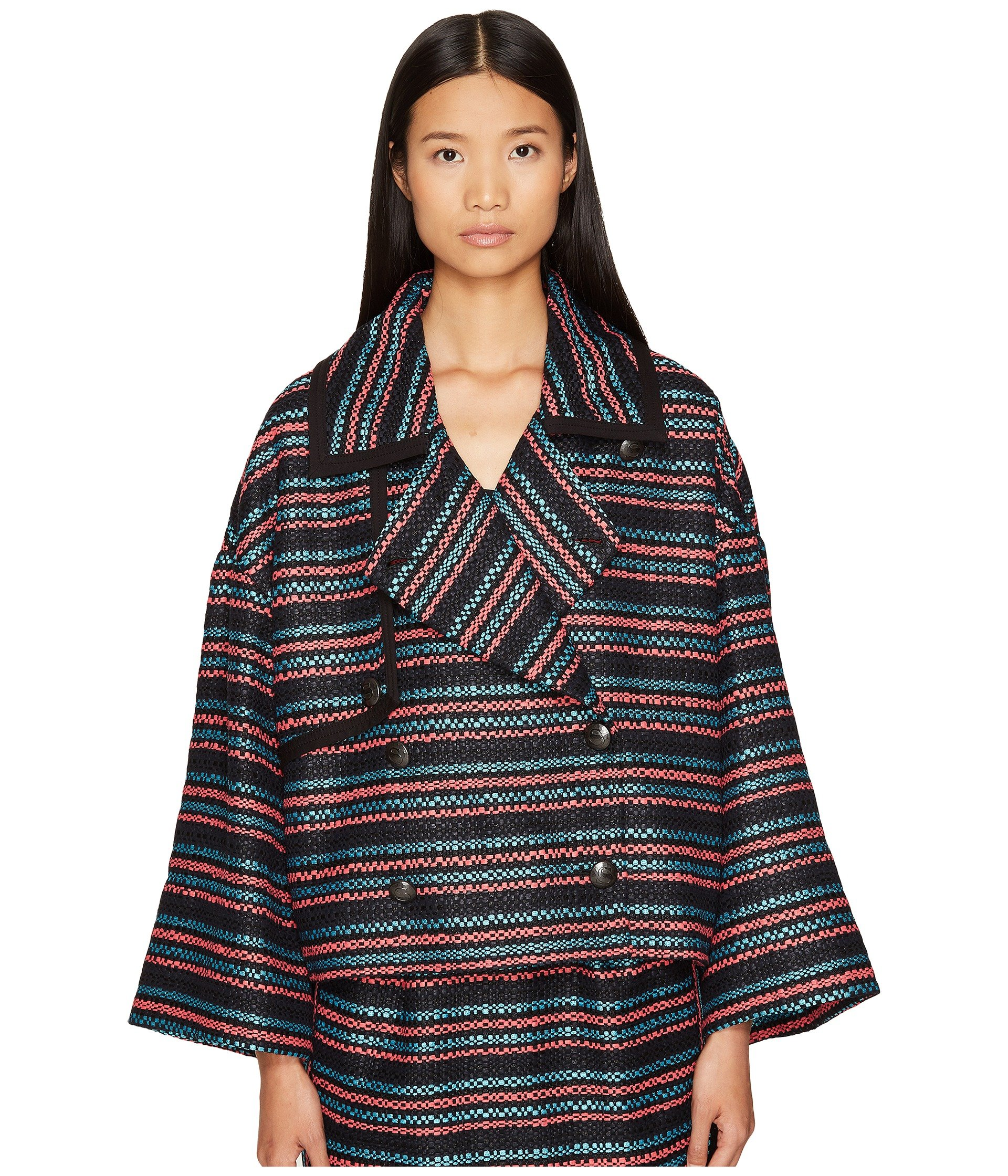 dcf157e13175 SONIA RYKIEL TWEED WITH JERSEY PIPING JACKET, MULTICOLOR STRIPE ...