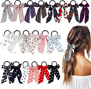 WATINC 20 Pcs Bowknot Hair Scrunchies Chiffon Floral Hair Ties Silk Satin Scarf Ponytail Holder with Bows Classic Stripe Dot Scrunchy Accessories Ropes for Women