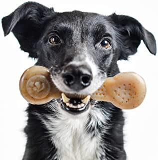 Pet Qwerks Flavorit Real Bacon Infused Nylon Chew Toy- Durable Tough Bone for Aggressive Chewers, Fillable Surface for Spr...