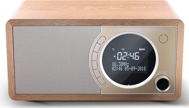 SHARP DR 20 BR DAB, DAB+ Digitalradio, Bluetooth, FM Radio,  Alarm /Schlaf und Snooze Funktion, Holzoptik, Braun