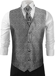 Paul Malone Wedding Vest Set Silver Gray Paisleys Tuxedo Vest with Tie and Accessories