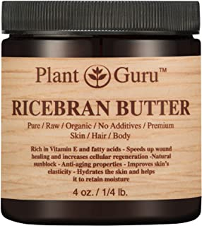 Ricebran Body Butter 4 oz. 100% Pure Raw Fresh Natural Cold Pressed. Skin Body and Hair Moisturizer, DIY Creams, Balms, Lotions, Soaps.