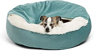 Best Friends by Sheri Cozy Cuddler, TidePool – Luxury Dog and Cat Bed with Blanket for Warmth and Security - Offers Head, ...