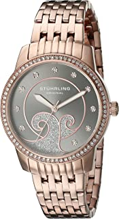 Stuhrling Original Women's 569.05 Coronet Quartz Swarovski Crystals Rose Tone Multi-Row Link Bracelet Watch