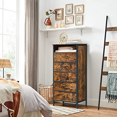 VASAGLE Chest of Drawers, 5 Drawer Tall Dresser for Living Room with Open Shelf, Non-Woven Fabric Drawer with MDF Front, Stee
