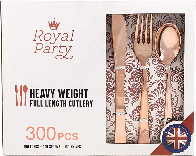 300 Pieces Premium Rose Gold Plastic Silverware From Royal Party Disposable Heavyweight Plastic Cutlery Full Length Flatware Set Includes 100 Forks 100 Spoons 100 Knives