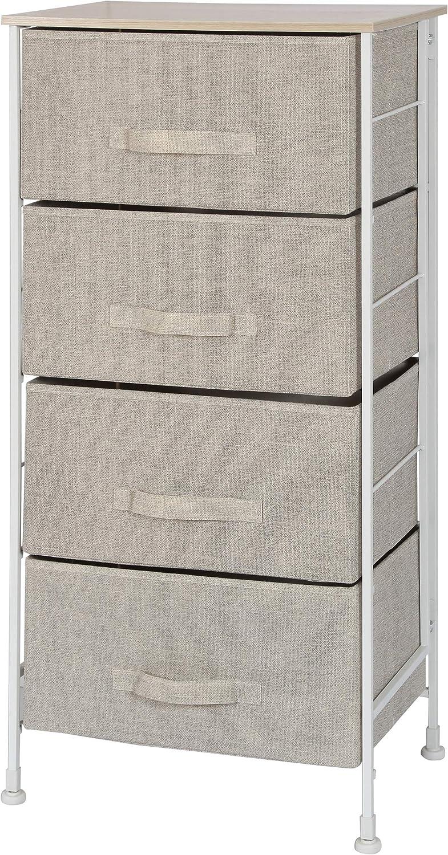 Homexcel Drawer Chest-4 Drawer Storage Chest,Dresser,Multi-Purpose Storage Cabinet,Foldable Drawer Organizer Unit with Fabric Drawers,Beige