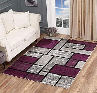 Golden Rugs Area Rug Abstract Modern Boxes Grey Black Purple Carpet Bedroom Living Room Contemporary Dining Accent Sevilla Collection 6614 (5x7, Purple)