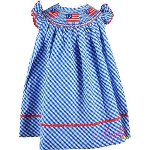Angeline Girls July 4th Independence Day Patriotic USA Flag Gingham  Checkers Bishop Dress Blue White ee37cd3f1