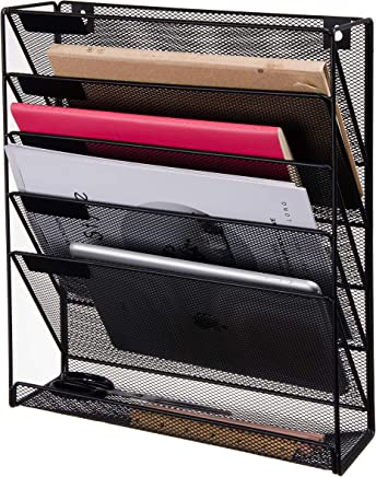 VERGOODR Wall File Holder and Organizer,Wall-Mounted Magazine Rack, 5 Slot Office Desk,Hanging Document Filing System,Black