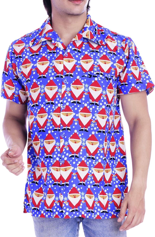 Virgin Crafts Men's Christmas Hawaiian Shirt Holiday Santa Claus Party Casual Beach Shirt