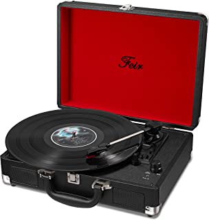 Vinyl Stereo Black Record Player 3 Speed Portable Turntable Suitcase Built in 2 Speakers RCA Line out AUX Headphone Jack P...