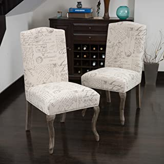 Christopher Knight Home Crown Back French Script Beige Fabric Dining Chairs (Set of 2)