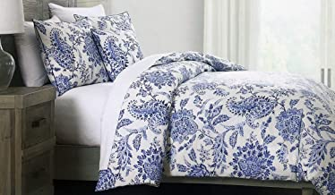 Tahari Home Maison Bedding Full//Queen Size Luxury Cotton 3 Piece Duvet Comforter Cover Shams Set Horizontal Stripes in Shades of Blue Gray White