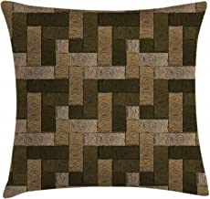 Ambesonne Chocolate Throw Pillow Cushion Cover, Parquet Pattern in Wooden Style Geometric Design in Nature Inspired Art, Decorative Square Accent Pillow Case, 18 X 18, Brown Beige