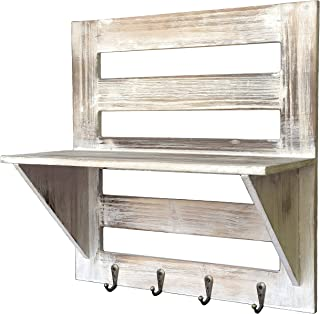 Autumn Alley Rustic Wood Wall Mounted Entry Organizer with 4 Key Hooks | Key Rack | Mail Shelf | One-of-A-Kind Finish Adds Warmth | Compact Size and Sturdy Construction