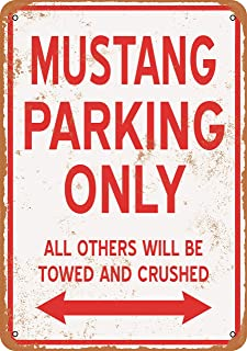 Wall-Color 9 x 12 Metal Sign - Mustang Parking ONLY - Vintage Look