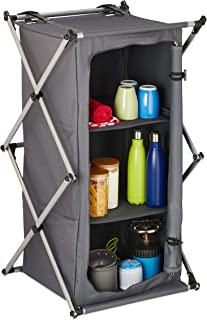 Relaxdays Armoire de Camping, étagère avec 3 Rangement, transportable, Pliante, extérieur, 93 x 54 x 54 cm, Gris