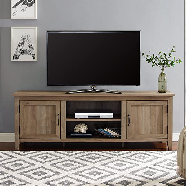 WE Furniture AZ70CS2DRO TV Stand 70 Rustic Oak