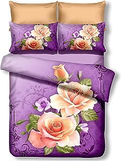DecoKing Premium 01141 Cama (200 x 220 cm, con 2 Fundas de Almohada 80 x 80 Color Morado 3D Microfibra edredón de Cama Flores Flores Violeta Ciruela Violet ...