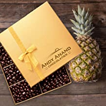 Andy Anand Belgian Dark Chocolate coated Pineapple Delicious, Divine, Delectable in Gift Box & Greeting Card Birthday Valentine Gourmet Christmas Holiday Food, Unique Gift