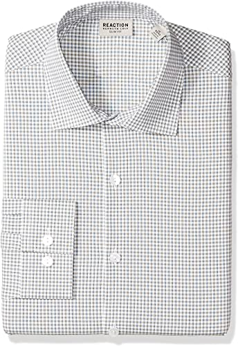 Kenneth Cole REACTION Hommes's Technicole Slim Fit Stretch Check Spread Collar Robe Shirt, Olive, 15  Neck 34 -35  Sleeve