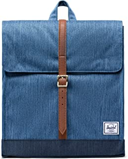 Herschel City Mid-Volume Backpack, Faded Indigo Denim/Tan Synthetic Leather, One Size