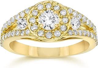5/8Ct Split Shank Real Diamond Halo Engagement Ring 14 Karat Yellow Gold