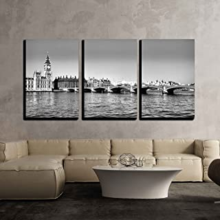 wall26 - 3 Piece Canvas Wall Art - Westminster Bridge Panorama View in London, UK - Modern Home Decor Stretched and Framed Ready to Hang - 16