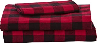 Stone & Beam Rustic Buffalo Check Flannel Bed Sheet Set, Twin XL, Red and Black
