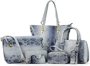 Hoxis Pack of 7 Bags Women Multi-purpose Classic Design Patent Purse Leather Leatherette Shoulder Handbag