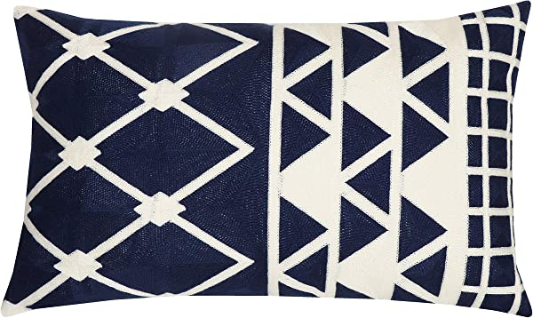 SLOW COW Cotton Embroidery Decorative Lumbar Throw Pillow Cover Pillowcase Rectangular Pillow Cover Cushion Cover For Bed Couch Sofa 12 X 20 Inches Navy Blue