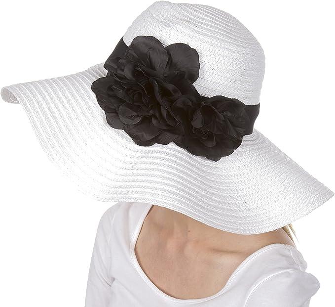 Accent Fleur Sakkas Chapeau Femmes Paille de Papier 100/% /à Bords flottants Larges UPF 50