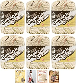 Bulk Buy: Lily Sugar'n Cream Yarn 100% Cotton Solids and Ombres (6-Pack) Medium #4 Worsted plus 4 Lily Patterns (Sonoma Prints 02018)