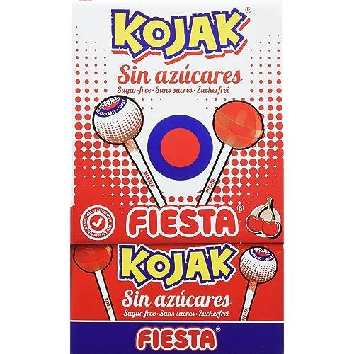 FIESTA Kojak - Caramelo con palo - Sin Azúcar - Sabor cereza - 50 ...