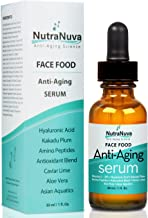 NutraNuva Face Food Anti Aging Natural Serum Complex VEGAN Formula, Kakadu Plum, Hyaluronic Acid, Peptides, AHA's, Aquatic Plants, Aloe and more for Wrinkles, Age Spots, More Collagen,1 fl. Oz