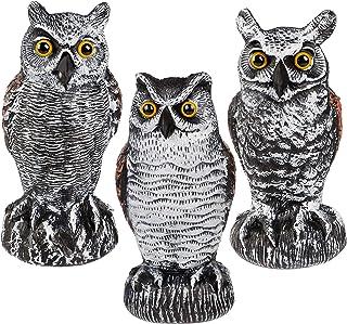 Hausse 3 Pack Bird Scarecrow Fake Horned Owl Decoy, Plastic Owl Bird Deterrents, Nature Enemy Pest Repellent for Outdoor G...
