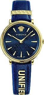 Versace Women 's' Manifesto Edition 'tono dorado y de piel Casual reloj de cuarzo suizo, color: azul (modelo: vbp030017)