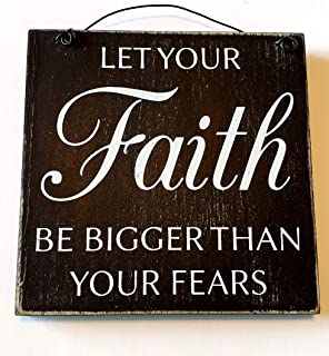 Hobby Lobby Let Your Faith Be Bigger Than Your Fears Mini Wall Hanging Plaque Wood Sign Farmhouse