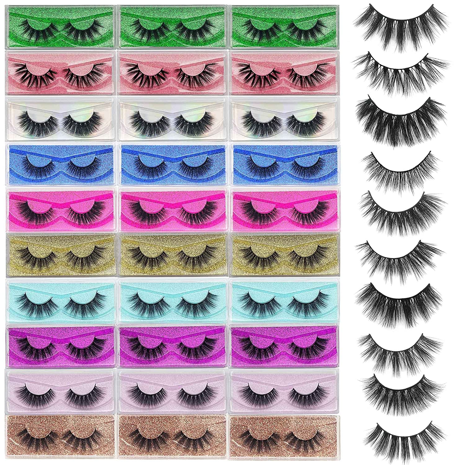 False Eyelashes Bulk Mikiwi Special Max 44% OFF price for a limited time 30 Pack 5D 12-20mm Fake Mink Lahes