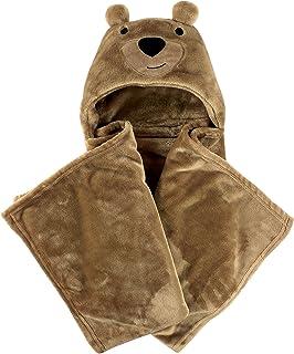 Hudson Baby Unisex Baby and Toddler Hooded Animal Face Plush Blanket, Bear, One Size
